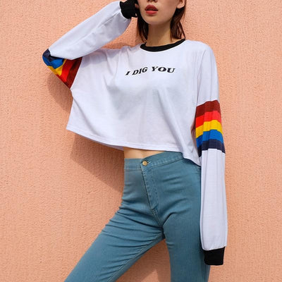 """I DIG YOU"" LONG-SLEEVE CROP TOP"