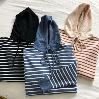 """KNITTED STRIPED"" HOODIES"