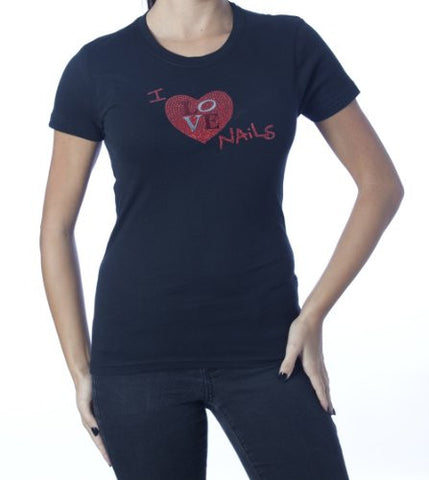I Love Nails T-Shirt (Rhinestones) Black