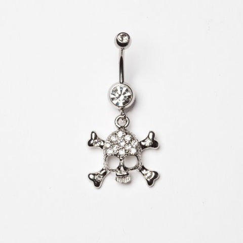 Skull Belly Ring Clear