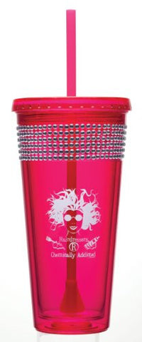 """Hairdressers 'R' Chemically Addicted"" Bling Tumbler, 20 oz."