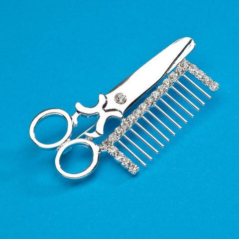 """Scissors & Comb"" Pin"