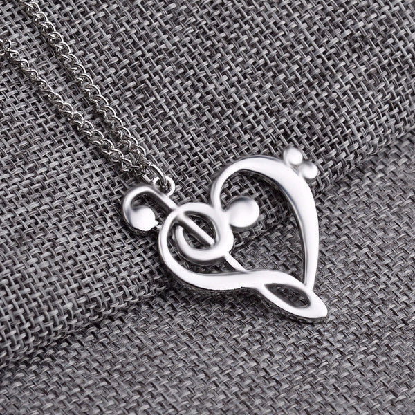 Treble bass clef heart necklace music pendant defining jewels treble bass clef heart necklace music pendant aloadofball