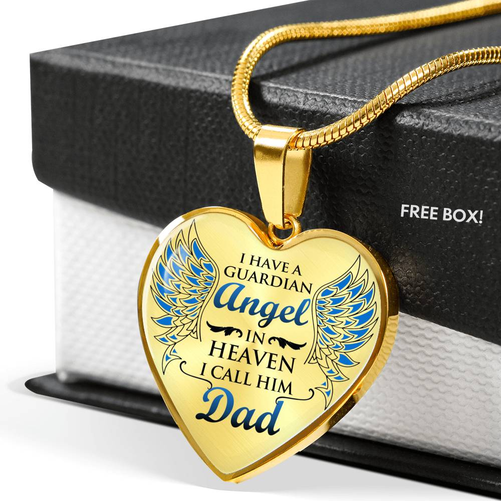My Dad is My Angel Heart Necklace