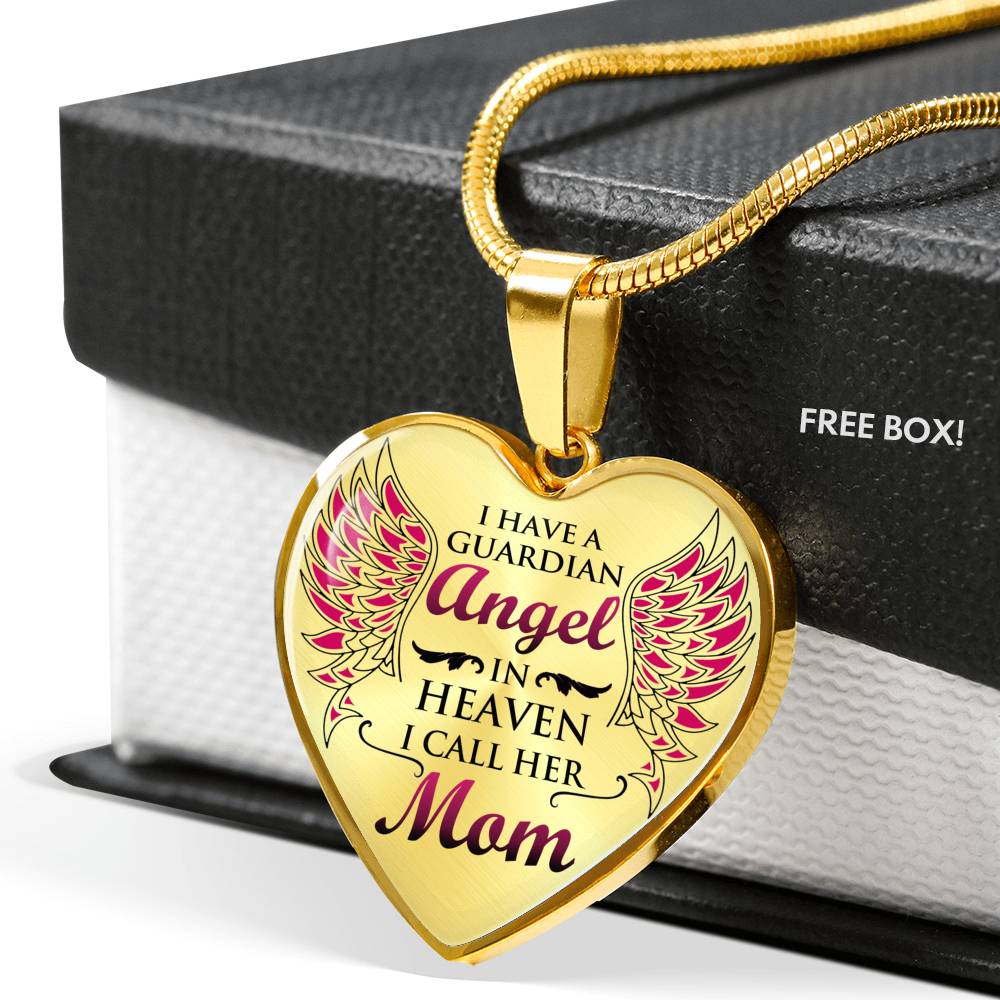My Mom is My Angel Heart Necklace