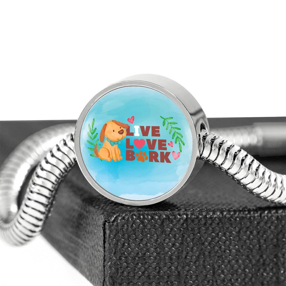 Live, Love, Bark Luxury Bracelet With Charm
