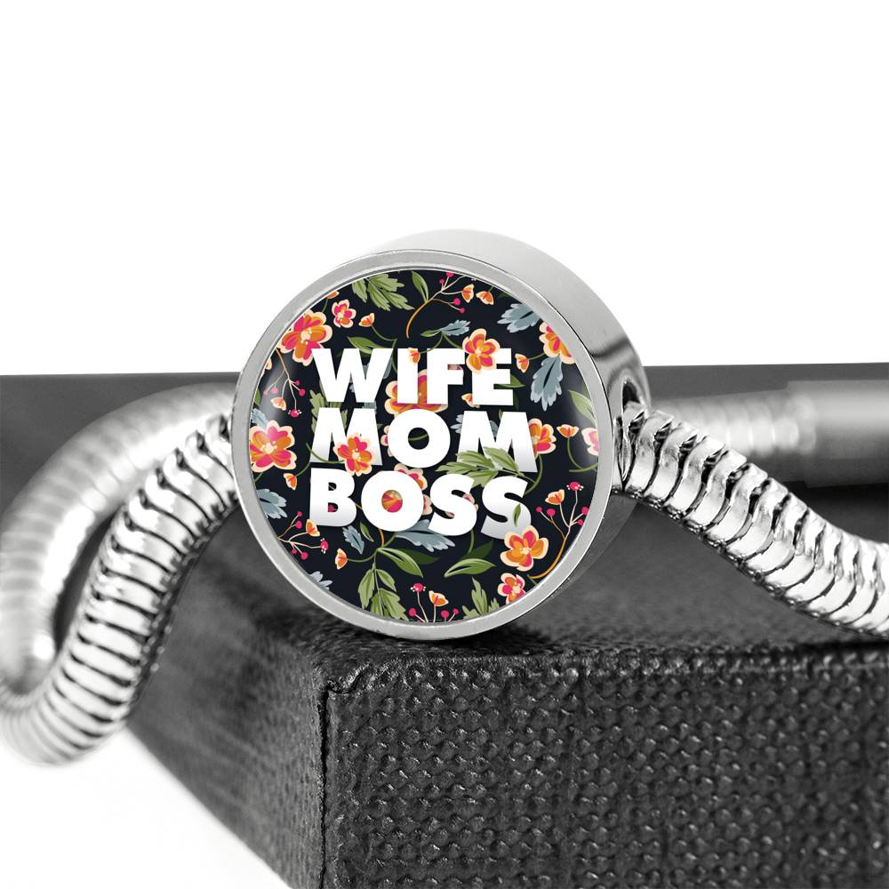 Wife, Mom, Boss Luxury Bracelet With Charm