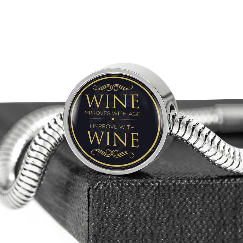 Wine Improves With Age Luxury Bracelet With Charm