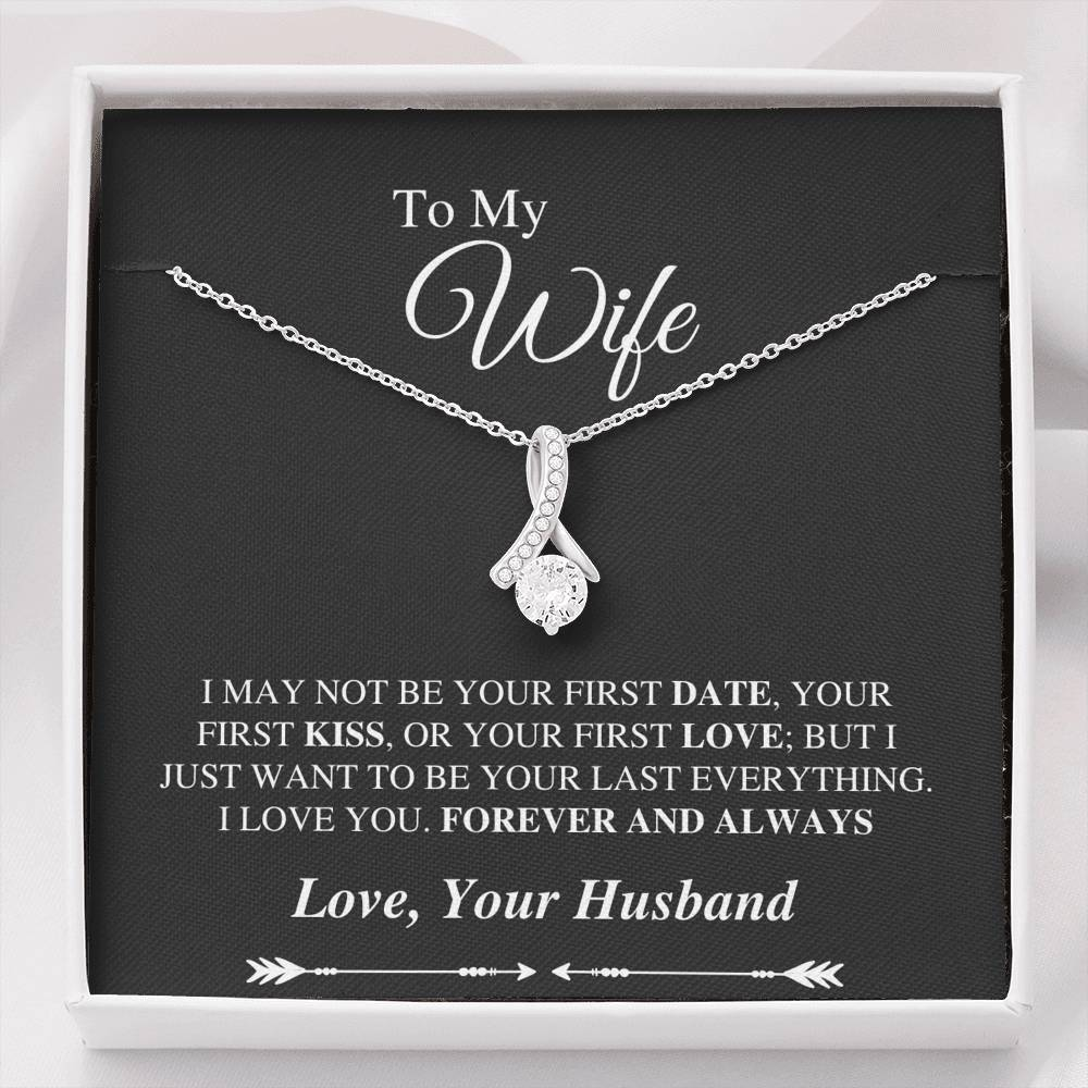 To My Wife Alluring Necklace - Forever And Always Message Card - Black