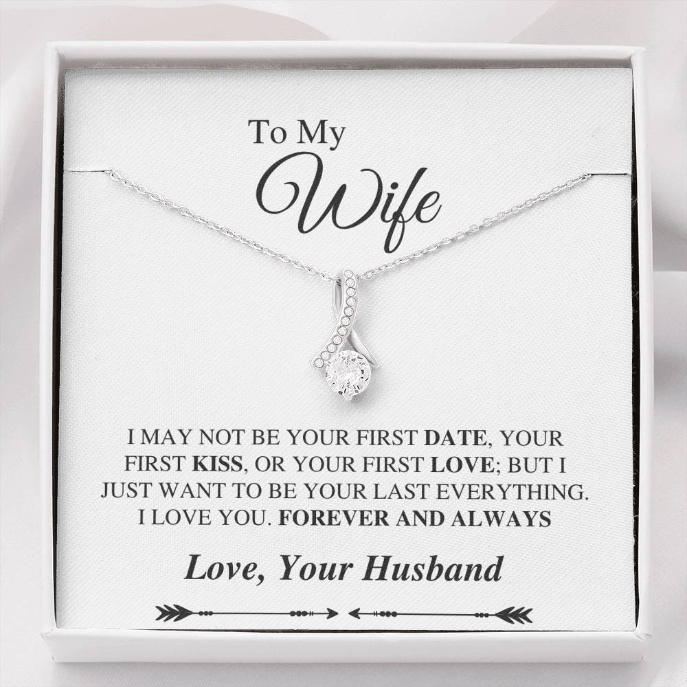 To My Wife Alluring Necklace - Forever And Always Message Card - White