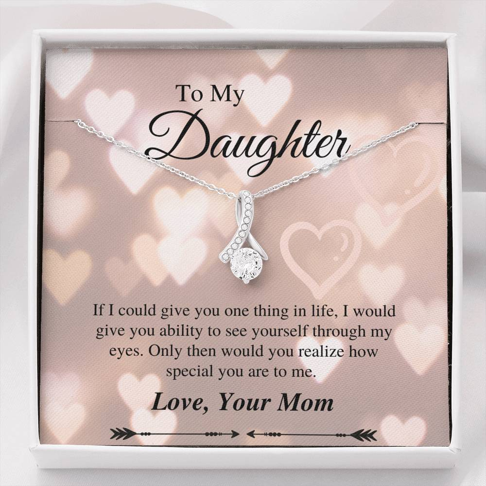 To Daughter From Mom - Alluring Necklace - Heart Message Card
