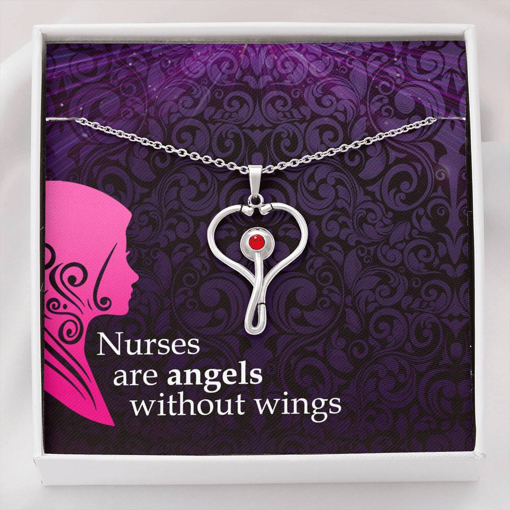Nurses Are Angels Without Wings Nurse Necklace