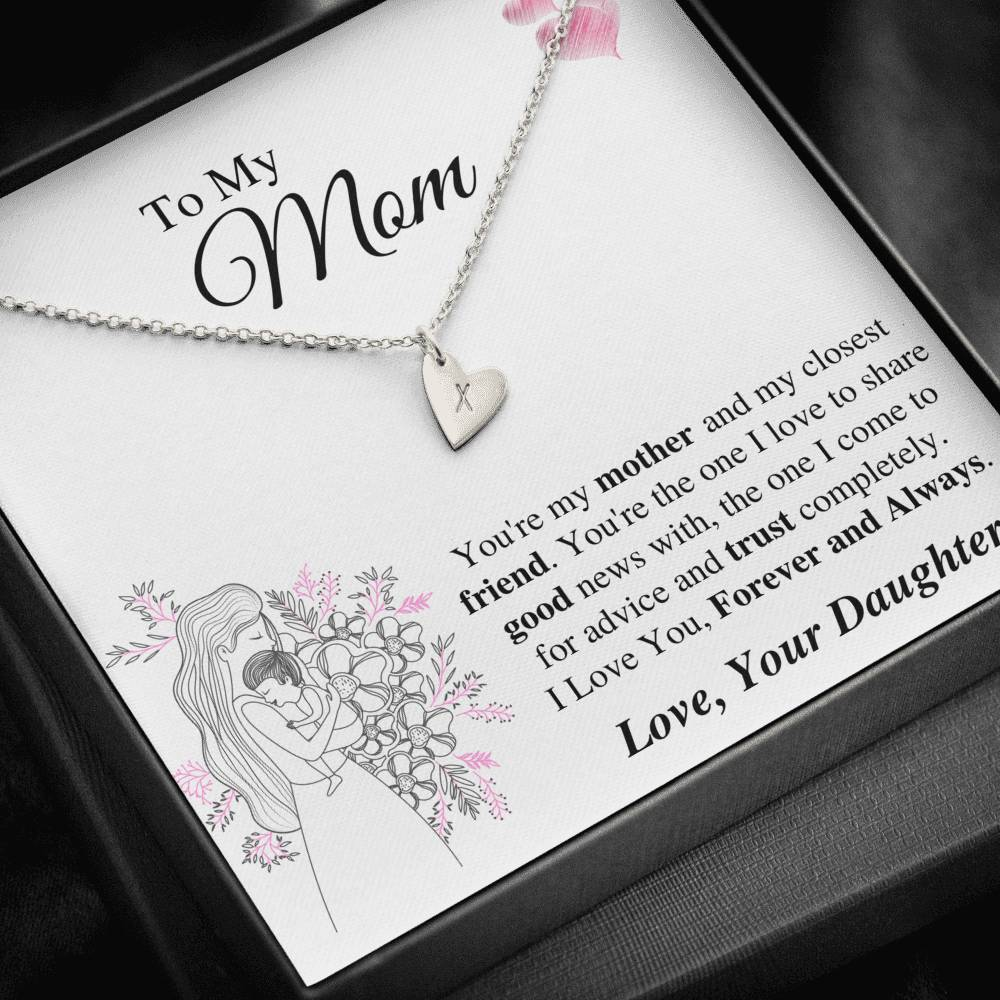 To Mom From Daughter - Forever and Always Sweetest Hearts Necklace