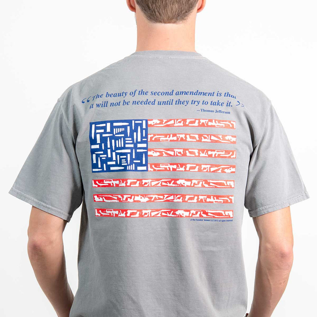 """The Beauty"" - Thomas Jefferson Quote American Flag Pocket T-shirt"