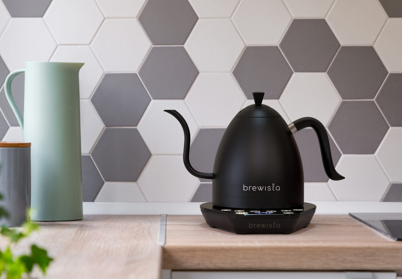 Brewista Artisan kettle sitting on a kitchen counter. Image created using 3D and AR (augmented reality)