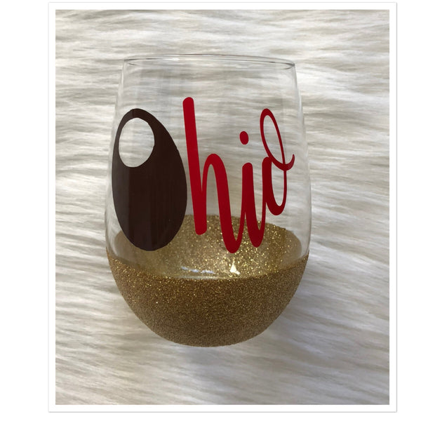 Buckeye Ohio Glitter Stemless Wine Glass