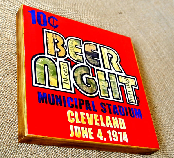Ten Cent Beer Night Wood Mixed Media Print 8x8 - Celebrate Local, Shop The Best of Ohio - 1