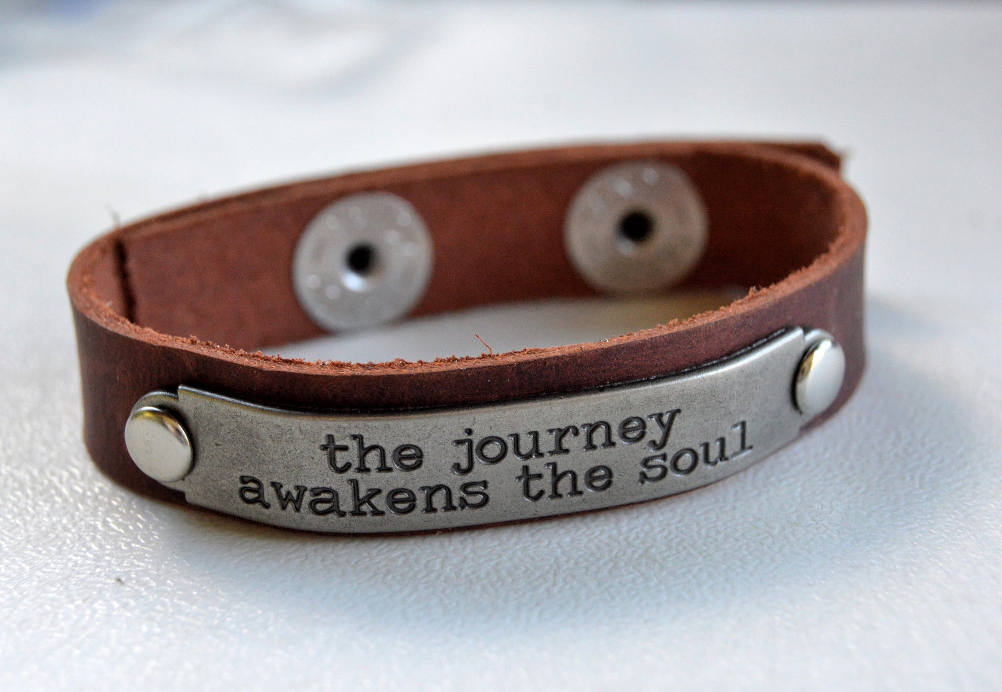 Brown Leather Bracelet Inspirational Saying - Celebrate Local, Shop The Best of Ohio