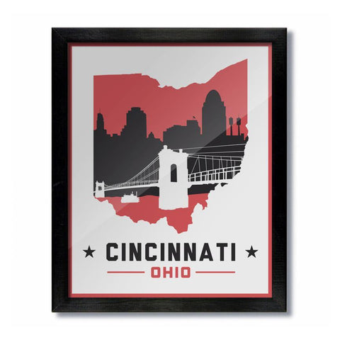 Cincinnati Skyline White and Red Print - Celebrate Local, Shop The Best of Ohio