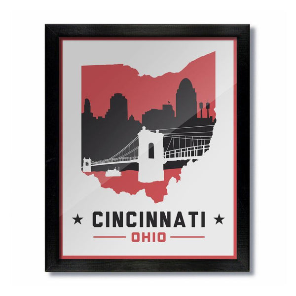 Cincinnati Skyline White and Red Print