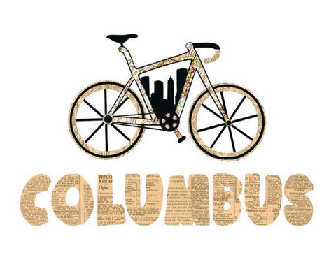 Columbus Bike Vintage Print - Celebrate Local, Shop The Best of Ohio