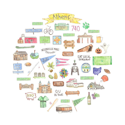 Athens, Ohio Icon Watercolor Print 12x12 - Celebrate Local, Shop The Best of Ohio