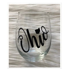 Ohio Stemless Wine Glass - Black Lettering - Celebrate Local, Shop The Best of Ohio