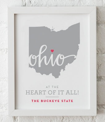 Ohio Heart Art Print Framed (Variety of Images) 8x10 - Celebrate Local, Shop The Best of Ohio