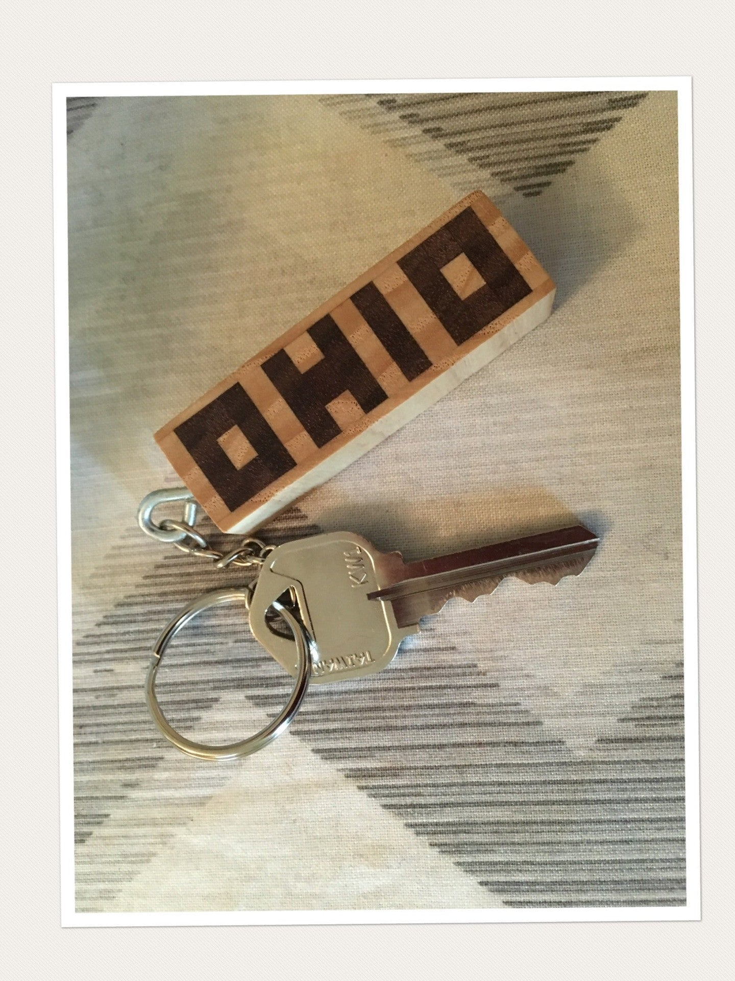 OHIO Wood Inlay Key Chain - Celebrate Local, Shop The Best of Ohio