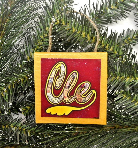 Cleveland Cavs Mini Canvas Ornament
