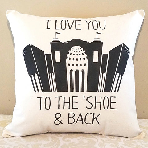 To The Shoe and Back Throw Pillow 14x14 Inch - Celebrate Local, Shop The Best of Ohio