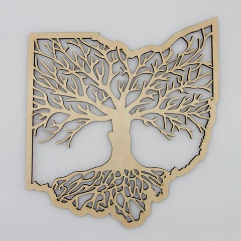 "Ohio Roots Wood Tree Wall Plaque  6x6"" (Various Colors) - Celebrate Local, Shop The Best of Ohio"