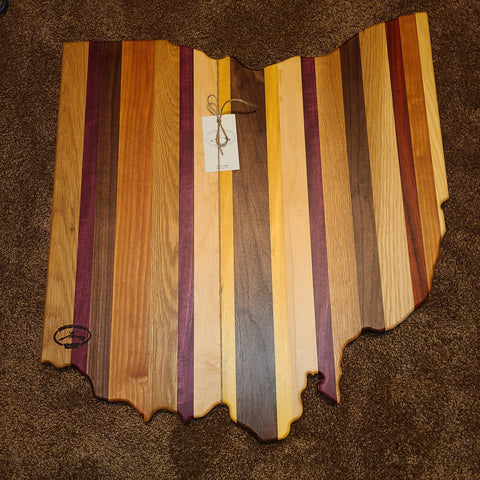 Large Ohio Shaped Wood Serving Platter