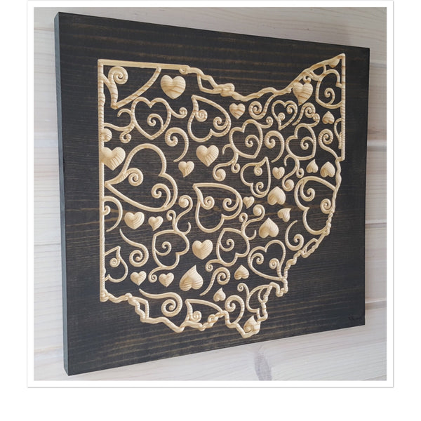 Scroll Heart Ohio Wood Wall Art
