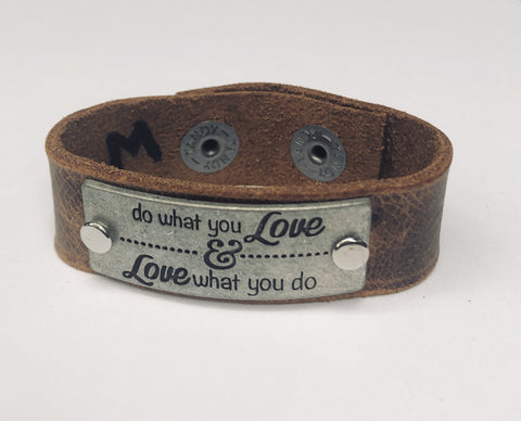 Do What You Love Inspiration Leather Bracelet 1in