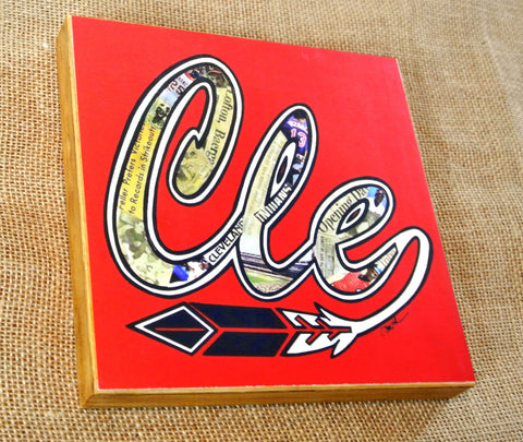 Cleveland Indians Wood Mixed Media Art Print 8x8 - Celebrate Local, Shop The Best of Ohio - 1