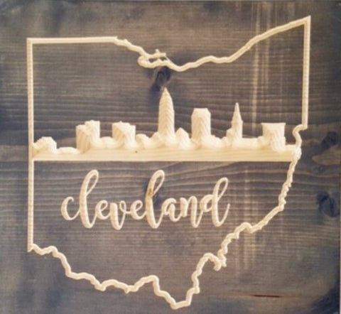 Ohio City Skylines Wood Wall Art 12 in x 12 in - Celebrate Local, Shop The Best of Ohio