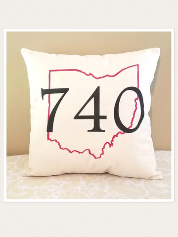 740 Ohio Area Code Throw Pillow