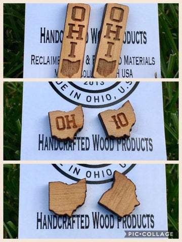 Wood Laser Cut Ohio Earrings (Various Styles) - Celebrate Local, Shop The Best of Ohio - 1