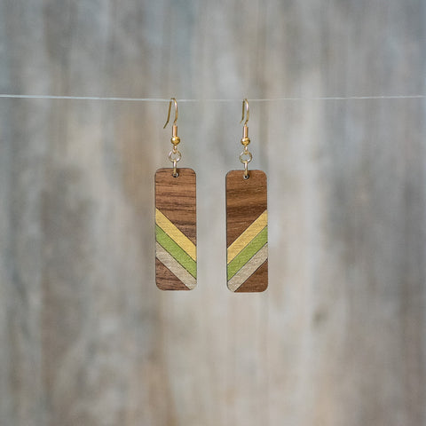 Natural Walnut Wood Retro Stripe Earrings - Celebrate Local, Shop The Best of Ohio