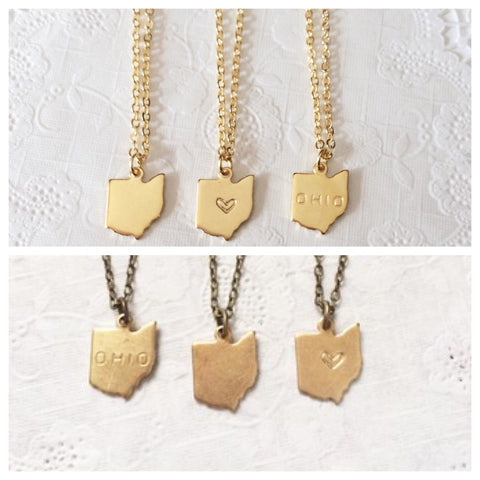 Gold or Brass Ohio Stamped Necklace