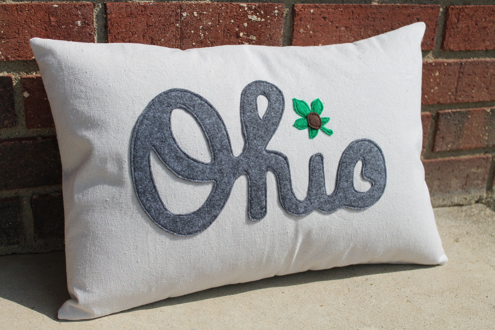 Script Ohio Buckeye Leaf Pillow or Cover - Celebrate Local, Shop The Best of Ohio
