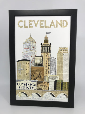 Cleveland Mono Skyline Vertical Collage Print - Celebrate Local, Shop The Best of Ohio