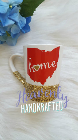 Ohio Home Gold Glitter Dipped Coffee Mug - Celebrate Local, Shop The Best of Ohio