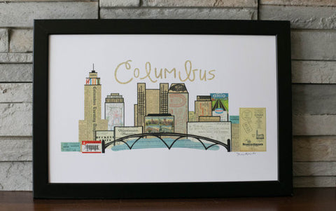 Columbus Skyline Vintage Print 11 x 17 - Celebrate Local, Shop The Best of Ohio