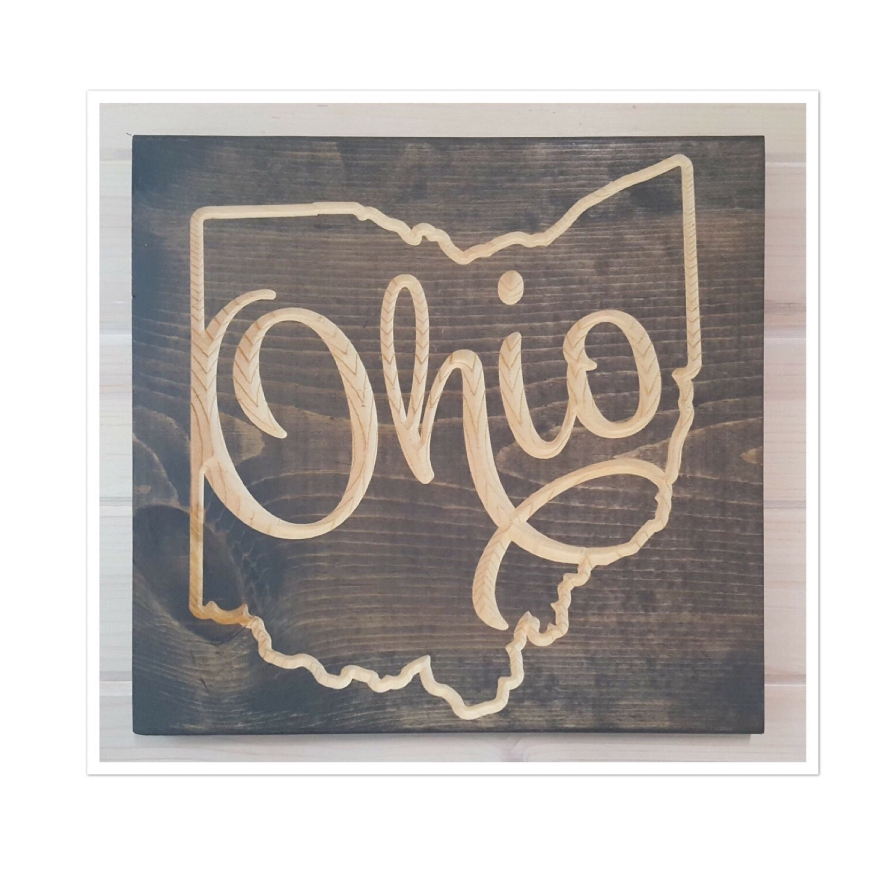State Of Ohio Scroll Wood Wall Art 12 in x 12 in