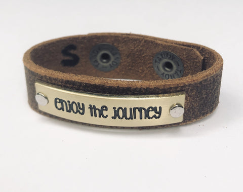 Enjoy The Journey Inspiration Leather Bracelet 1.5 in