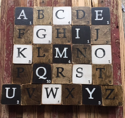 A to Z  - Wood Scrabble Single Coasters - Celebrate Local, Shop The Best of Ohio