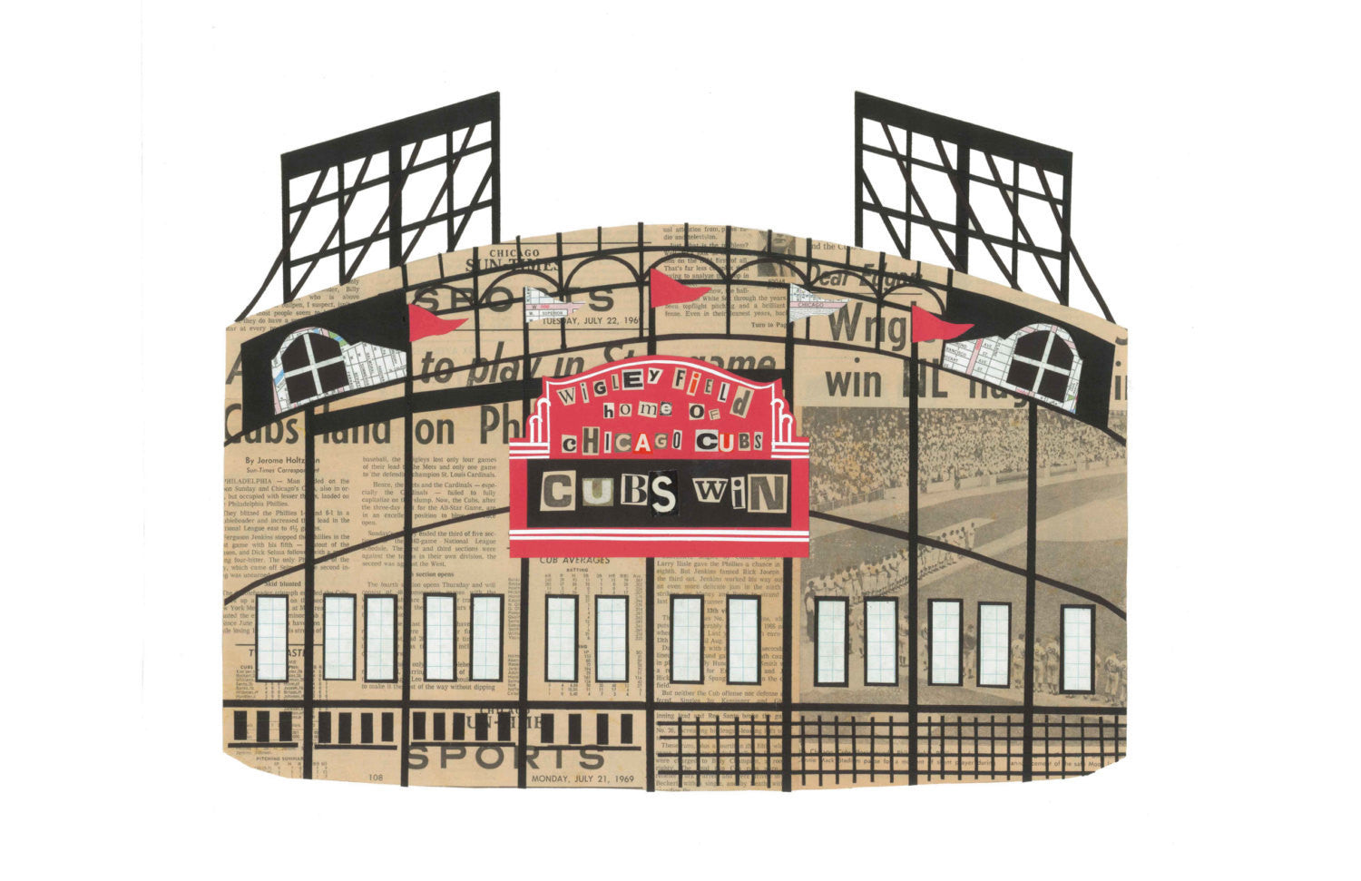 Wrigley Field Vintage Print 8 x 10 - Celebrate Local, Shop The Best of Ohio