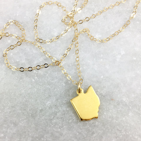 Gold or Brass Ohio Stamped Necklace - Celebrate Local, Shop The Best of Ohio